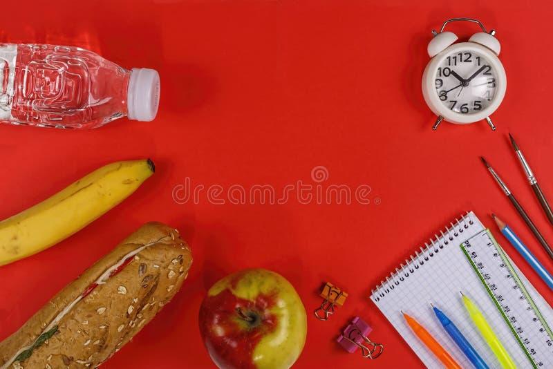 Sunt skolamat, ciabatta, n?ring, rent vatten, en sm?rg?s, ett ?pple royaltyfri bild
