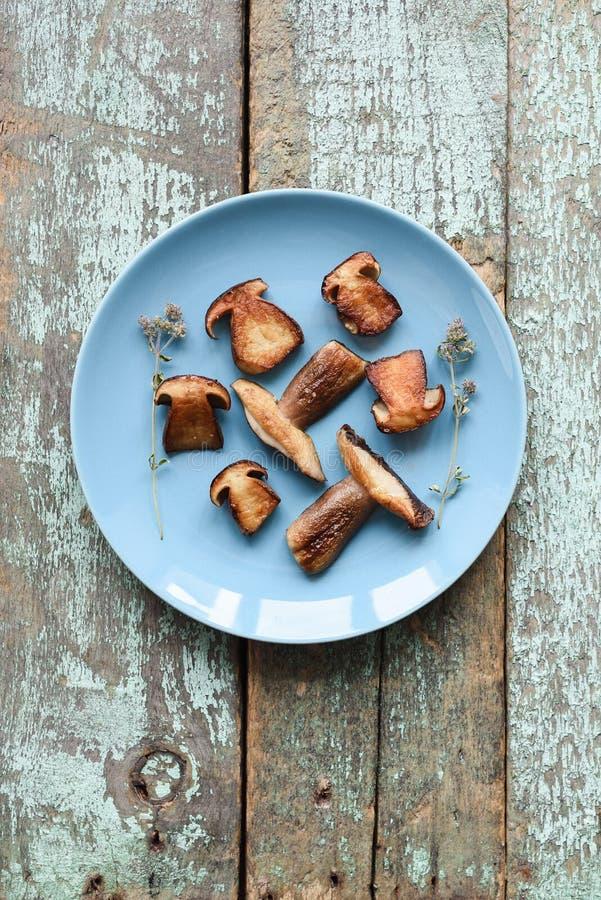 Sunt strikt vegetarianmellanmål Den stekte porcinien plocka svamp stensopp in royaltyfri bild