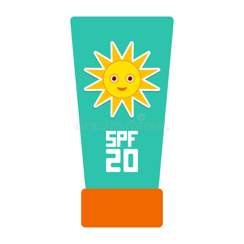 Suntan lotion Sun Cream Container. Sunscreen SPF 20. The blue tube on white background. sun care cosmetics. Summer vacation beach royalty free illustration