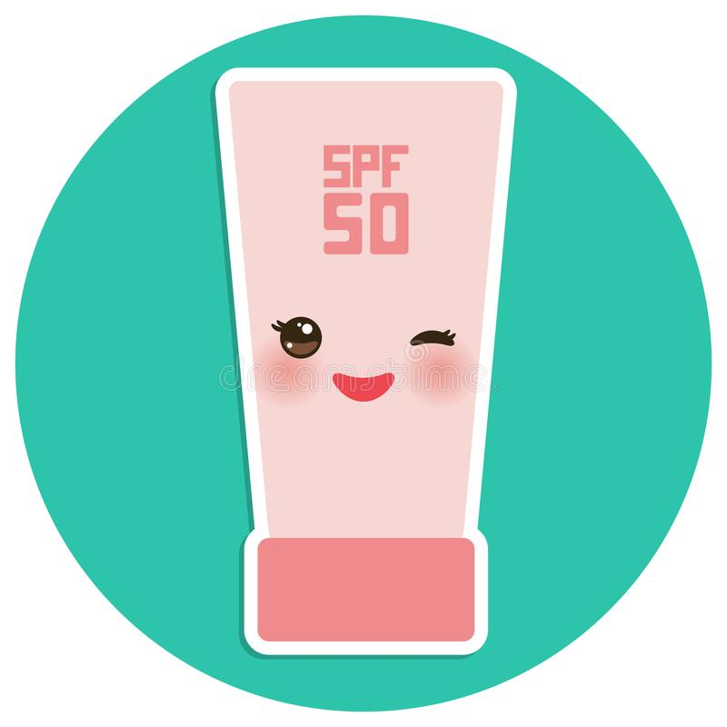 Suntan lotion Sun Cream Container. Sunscreen SPF 50. Pink tube on blue background. sun care cosmetics. Summer vacation beach. Kawa. Ii with pink cheeks and stock illustration