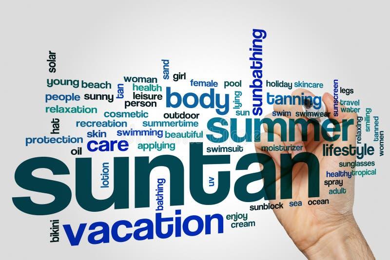 Suntan word cloud royalty free stock photos