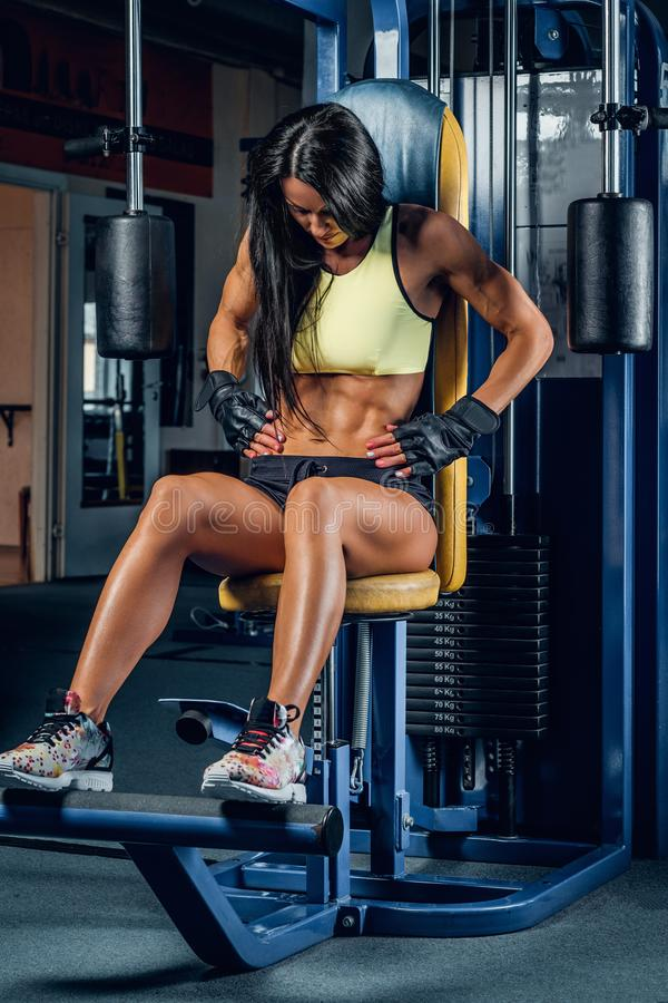 Suntanned fitness female exercising in a gym. stock image