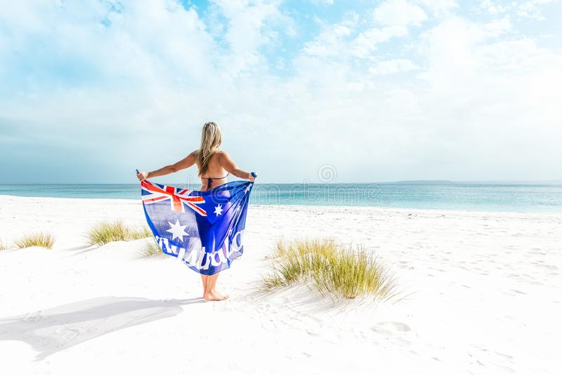 Suntanned woman on beautiful beach in Australia stock photos