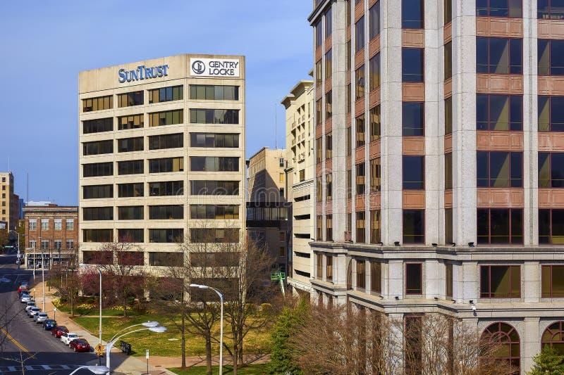 SunTrust i Norfolk Południowi budynki, Roanoke, Virginia zdjęcie stock