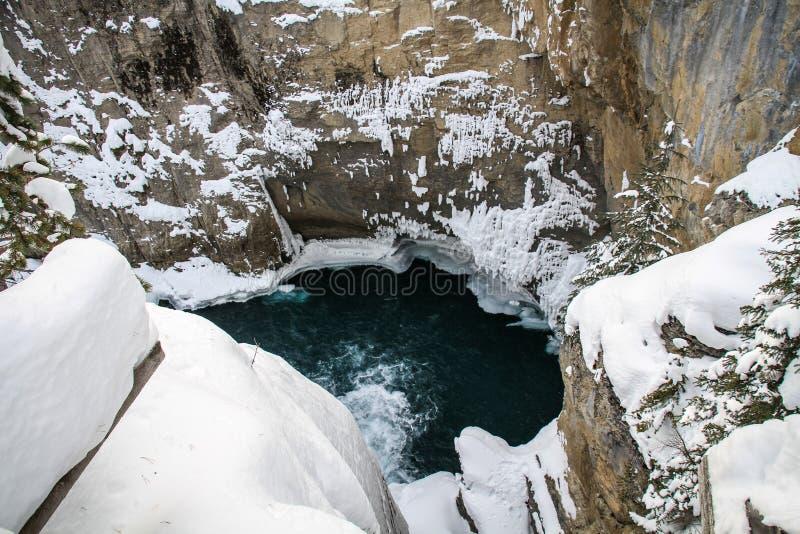 Sunwapta Falls un jour givré de janvier, jaspe, parc national Alberta, Canada photographie stock
