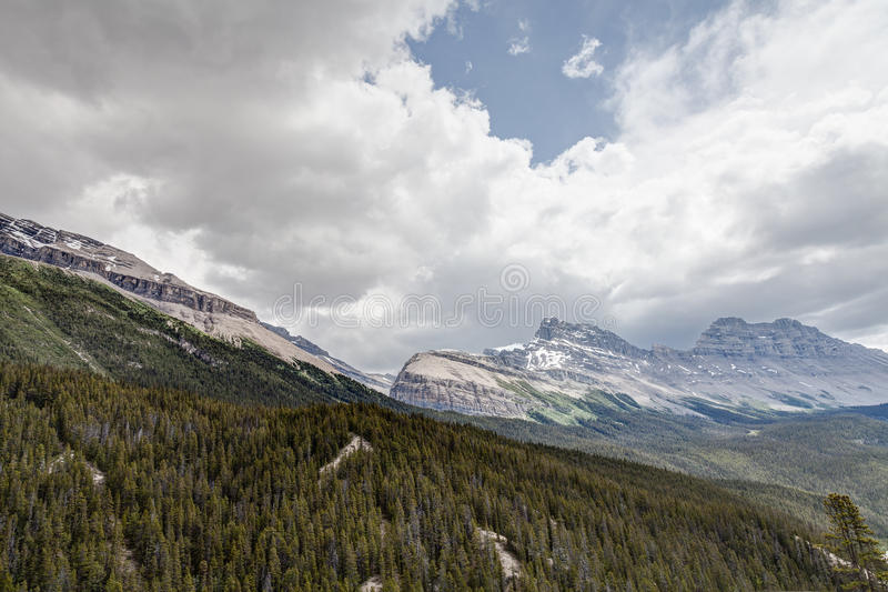 Sunwapta Pass- Jasper National Park- Alberta- Canada. Sunwapta viewpoint in Jasper National Park offers a spectacular view of the valley below in Banff stock photography