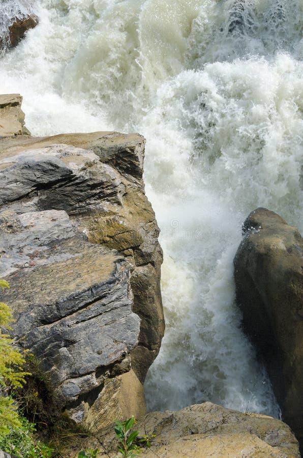 Sunwapta vattenfall royaltyfri bild