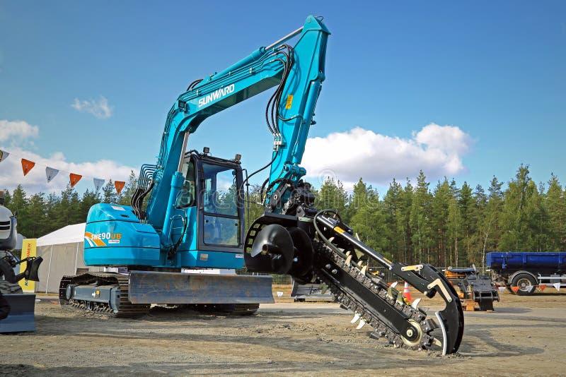 Sunward máquina escavadora Mounted Trencher de SWE90UB foto de stock royalty free