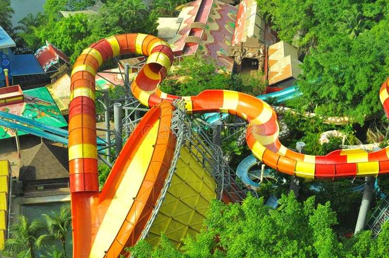 Sunway Lagoon water theme park over view. The over top view of a lengthy, high rise and thrilling Sunway Lagoon water slides royalty free stock photography