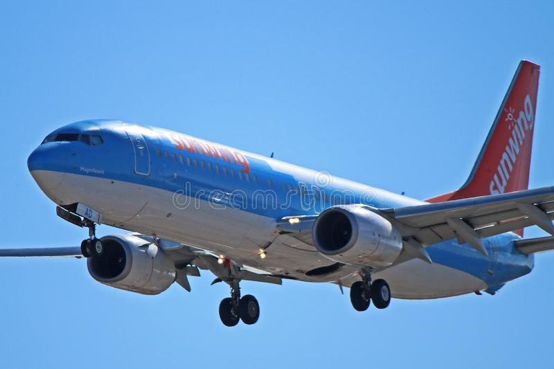 Sunwing Airlines Boeing 737-800 C-FNAD stock photography