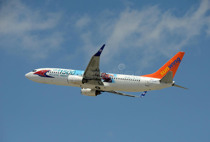 Sunwing flight from Canada to Florida royalty free stock photography