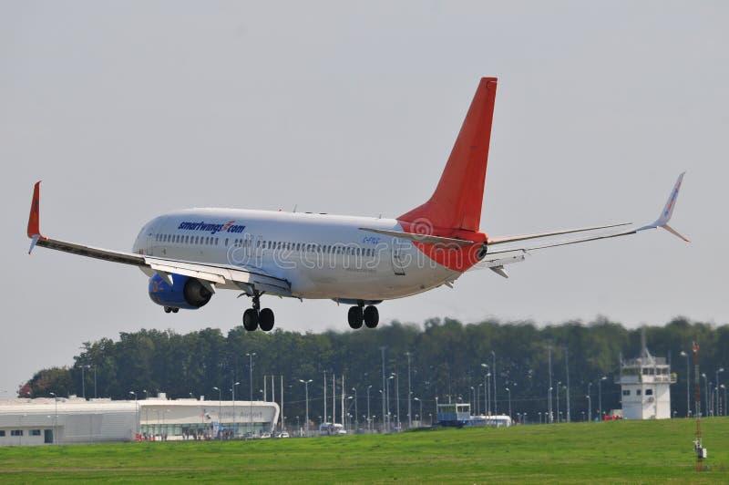 Sunwing plane flight royalty free stock photos