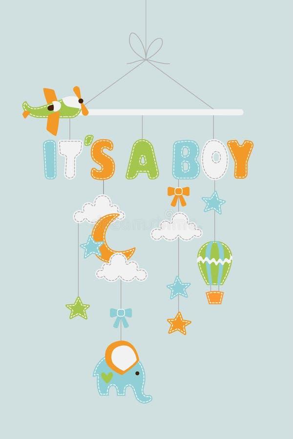 Suo un ragazzo - decorazione del bambino con il pallone dell'elefante degli aeroplani delle stelle che appende sul filo illustrazione vettoriale