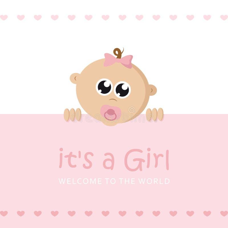 Suo una cartolina d'auguri di benvenuto della ragazza per il parto con il fronte del bambino illustrazione vettoriale
