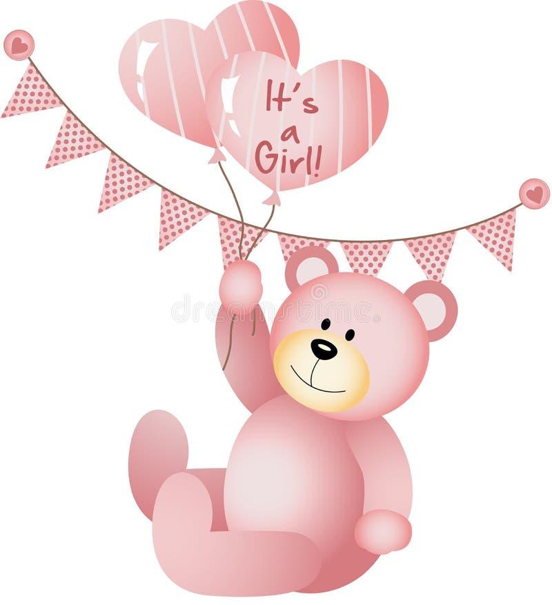 Suo una ragazza Teddy Bear illustrazione vettoriale