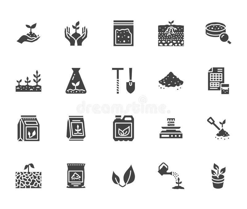 Suolo che verifica l'insieme piano delle icone di glifo Agricoltura, piantante le illustrazioni di vettore, mani che tengono terr royalty illustrazione gratis