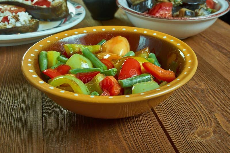 Suoman Gush Siz - Kashgar. Delicious dish of vegetables, peppers,Xinjiang cuisine , Uighur food royalty free stock photos