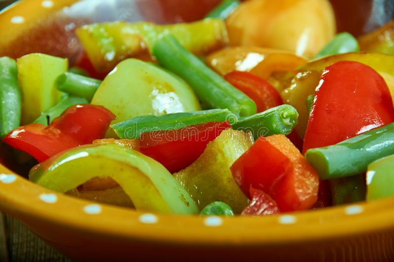 Suoman Gush Siz - Kashgar. Delicious dish of vegetables, peppers,Xinjiang cuisine , Uighur food royalty free stock photography