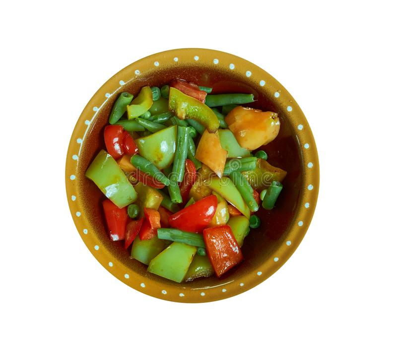 Suoman Gush Siz - Kashgar. Delicious dish of vegetables, peppers,Xinjiang cuisine , Uighur food royalty free stock images