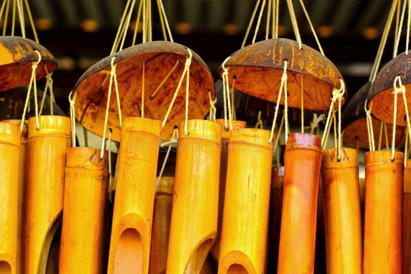 Suono di bambù dei carillon di vento per appendere. fotografia stock libera da diritti
