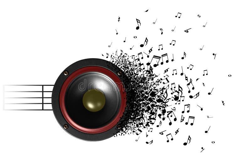 Suono di musica dall'altoparlante illustrazione di stock