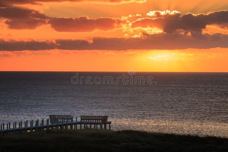 Suono Salvo North Carolina Outer Banks di Pamlico di tramonto immagini stock