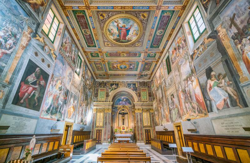 Indoor sight in the Church of the Suore Missionarie di Gesù Eterno Sacerdote, in Rome, Italy. stock photography