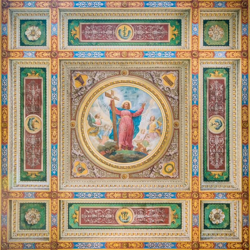 Jesus fresco in the ceiling of the Church of the Suore Missionarie di Gesù Eterno Sacerdote, in Rome, Italy. stock images