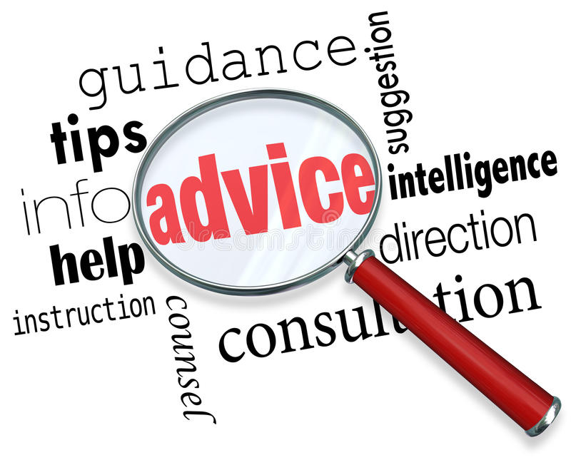 Sup da informação da ajuda das pontas da orientação das palavras da lupa do conselho ilustração do vetor