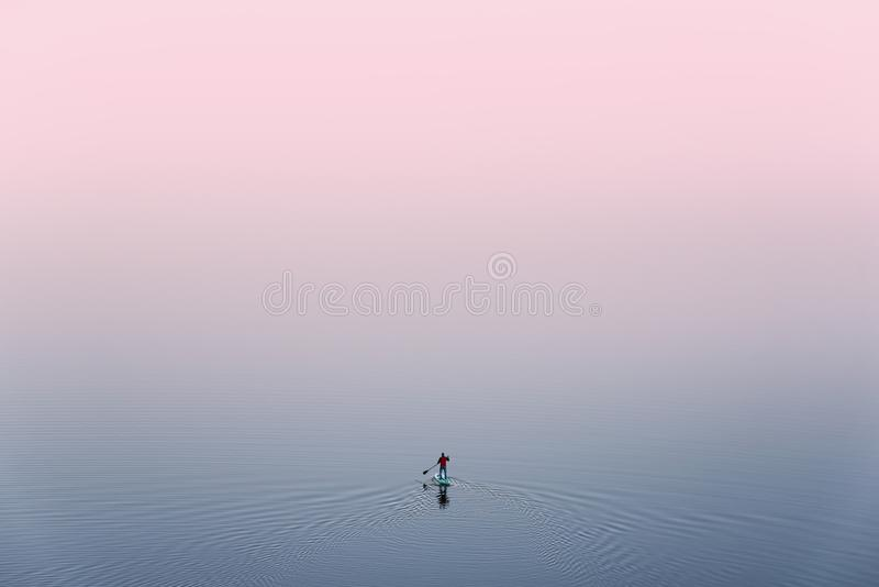 SUP Surfing,View From Above: Lonely Man Is Training On Sup Board On A Large Lake During Pinky Sunset. Surfer.Man In Red Jacket St. And On Sup Paddle Board stock photo