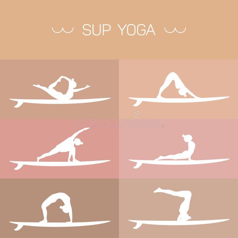 SUP Yogasatz lizenzfreie stockbilder