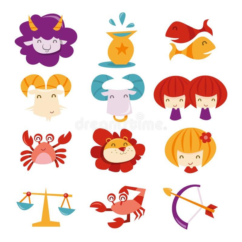 Super Śliczni horoskopów znaki ilustracji