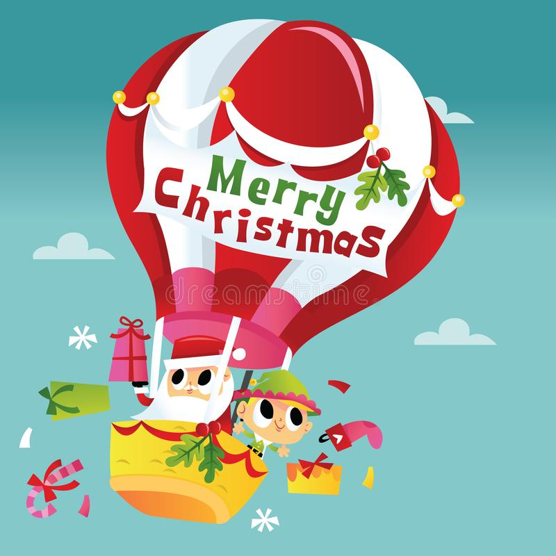 Super Śliczny Wesoło bożych narodzeń Santa gorącego powietrza balon ilustracji