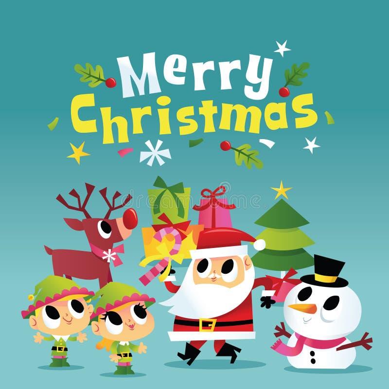 Super Śliczny Wesoło bożych narodzeń Santa przyjęcie ilustracji