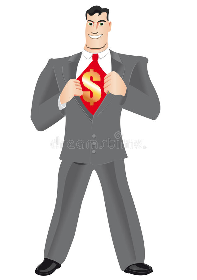 Super advisor. Happy and wealthy financial / bank advisor wearing a grey suit stock illustration
