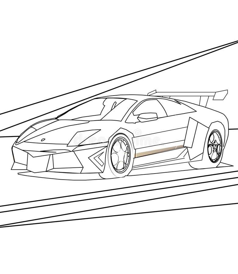 Super auto kleurende pagina stock illustratie