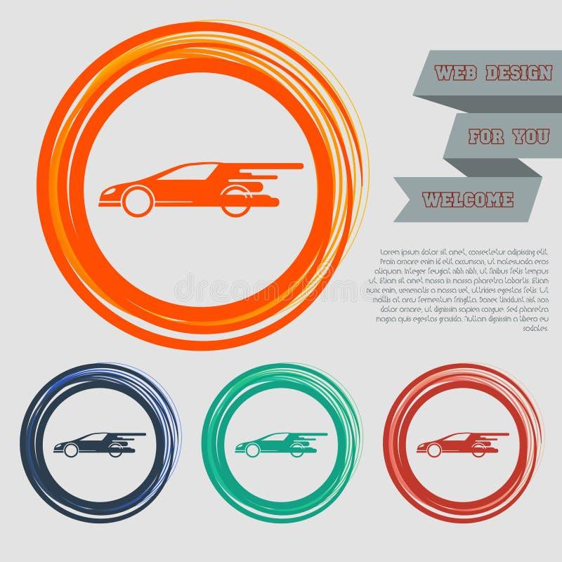 Super Autopictogram op de rode, blauwe, groene, oranje knopen voor uw website en ontwerp met ruimteteksten stock illustratie