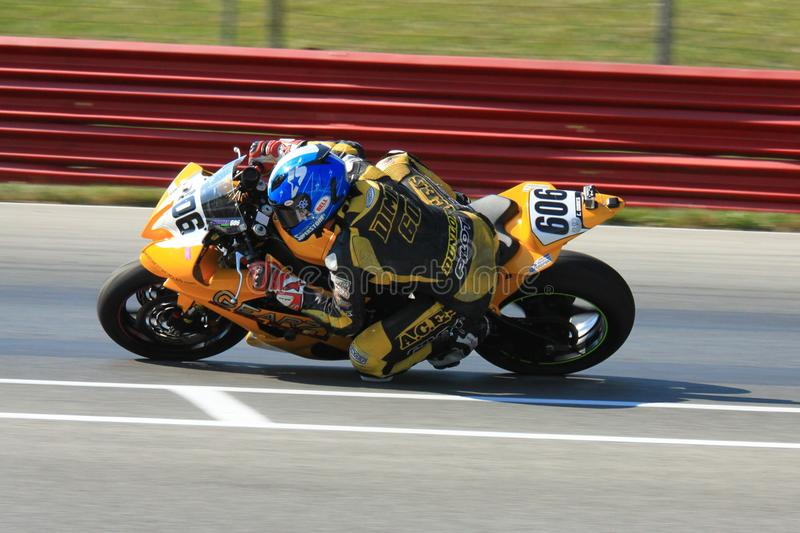 Super Bike event. Colter Dimick races the Yamaha YZF-R6 for Tri-City Cycle at the pro motorsports racing motorcycle event stock images