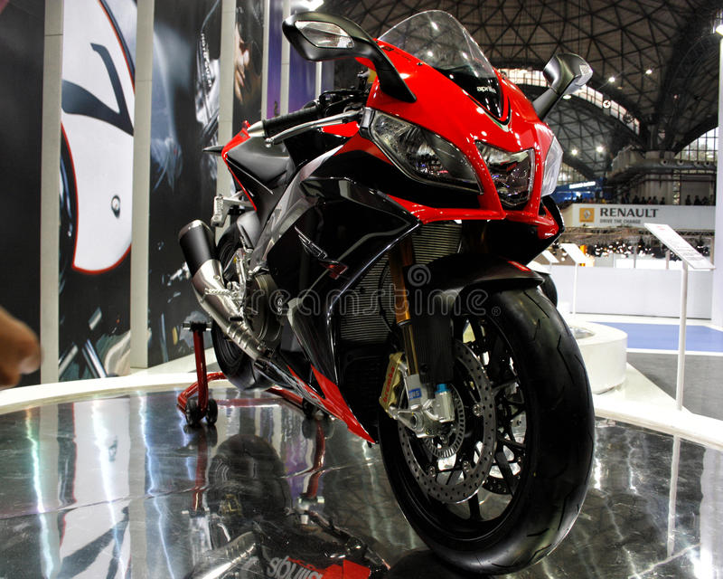 A Super bike Motor cycle on display. A super bike motor bike on display at an event royalty free stock photography