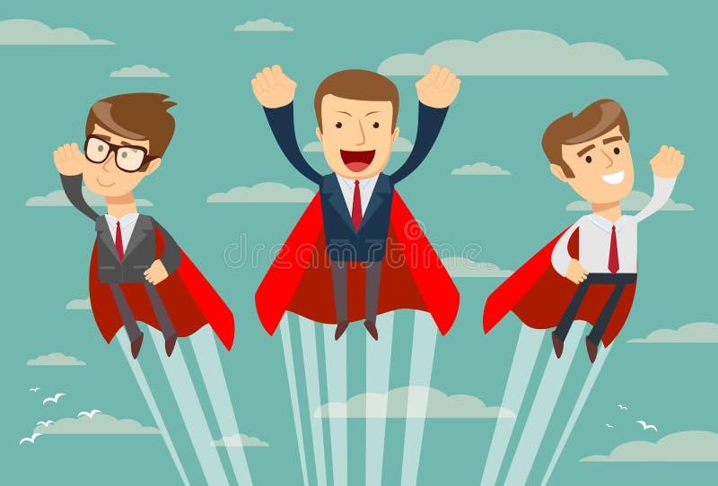 Super biznes drużyna lata upwards ich sukces w czerwonych przylądkach ilustracja wektor