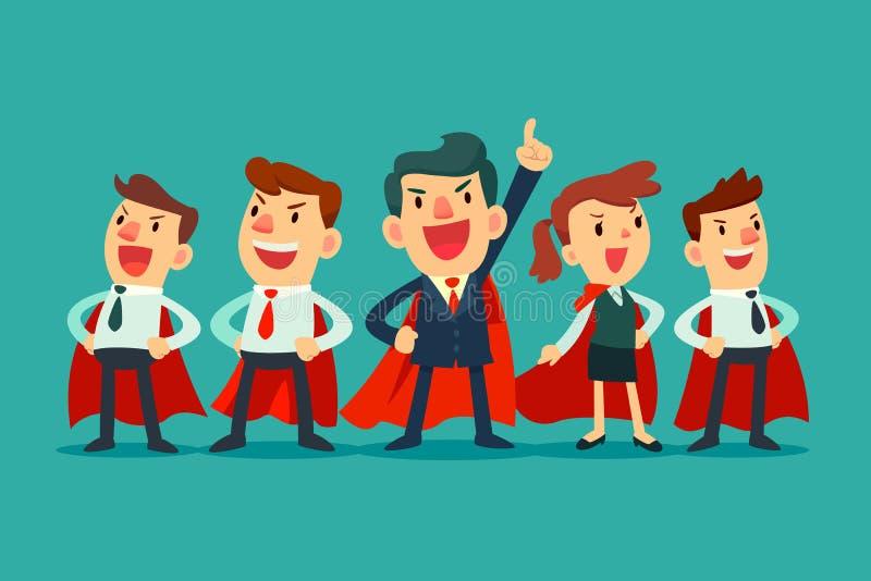 Super biznes drużyna w czerwonych przylądkach ilustracji