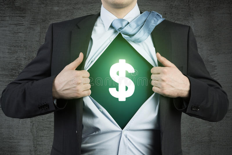 Super biznesmen i dolarowy znak fotografia stock