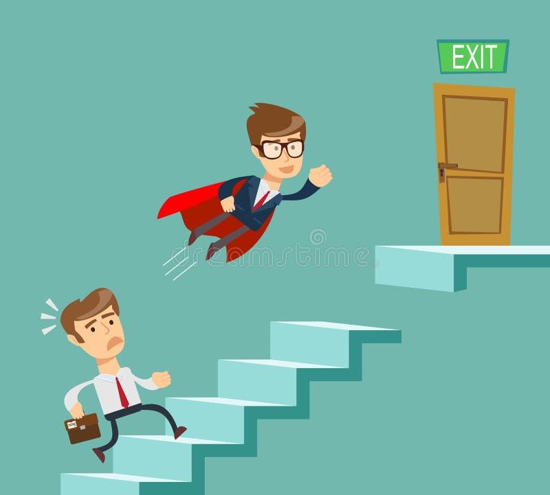 Super biznesmen w czerwonej przylądka latania przepustce inni biznesmenów wspinaczkowi schodki azjata za kłonienia biznesowego bi ilustracji