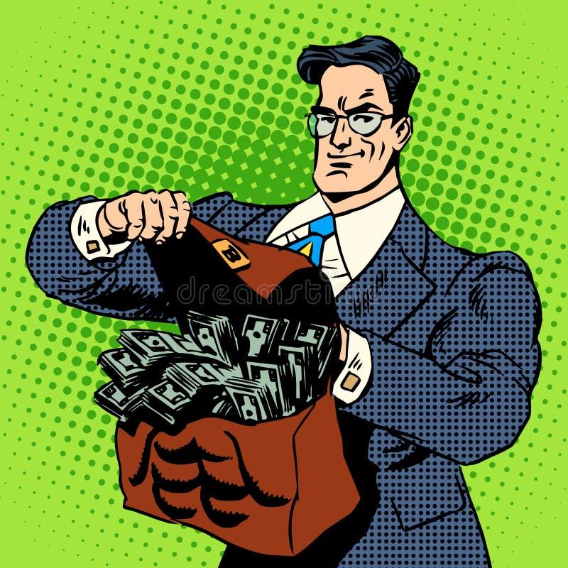 Super biznesmen walizki pieniądze ilustracja wektor