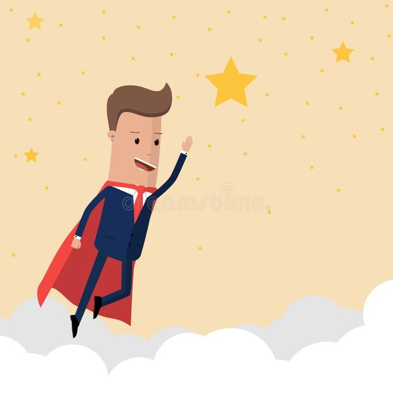 Super biznesmena latająca wysokość dosięgać gwiazdę sukces w niebie również zwrócić corel ilustracji wektora ilustracji
