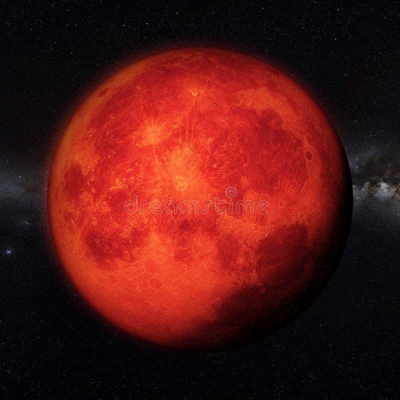 Super blood moon realistic render royalty free illustration