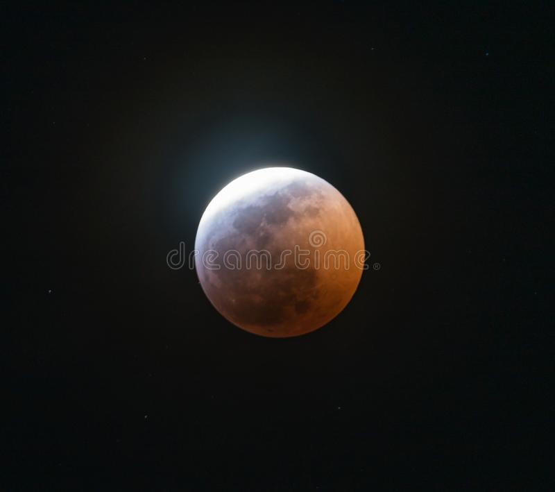 The Super Blood Wolf Moon Eclipse of 2019 stock photography