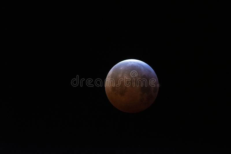 Super Blood Wolf Moon lunar eclipse over UK stock photo
