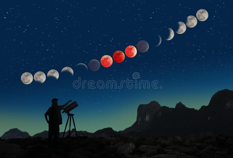 Super blue blood moon eclipse sequence and man with telescope. Picture of the sequence of the Super blue blood moon eclipse on January 31, 2018 a phenomenon that royalty free stock photo