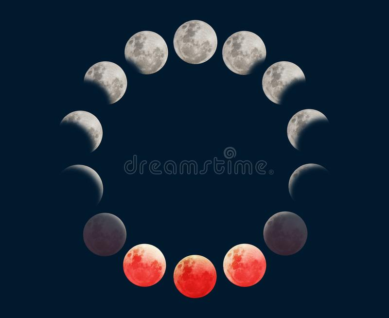 Super blue blood moon eclipse sequence stock photography